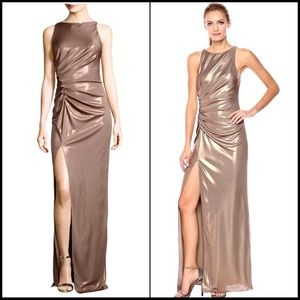Halston Heritage gold metallic dress